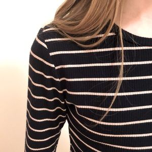 Cute Striped Long Sleeve Cropped Tee